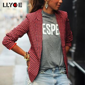 LLYGE Fashion Women Silm OL Plaid Jacket Coat 2018 Long Sleeve Notched Streetwear One Button Outwear Women's Red Formal Blazers