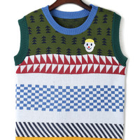 Multicolor Contrast Geometric Pattern Knit Vest
