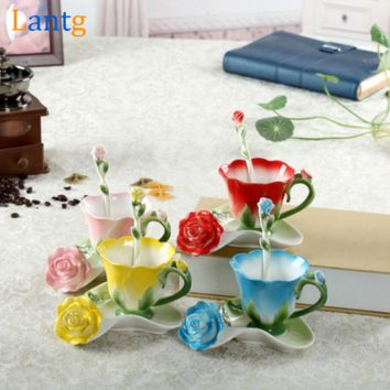 3D Rose Enamel Coffee Mug Tea Milk Cup Set With Spoon and Saucer.