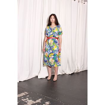 Aquarium Print Long Dress / S M