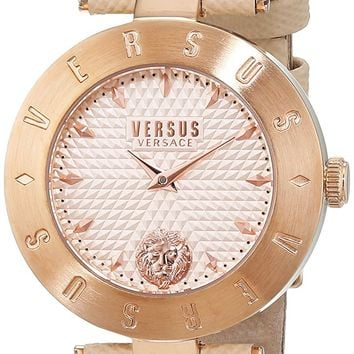 Versus by Versace Women's 'NEW LOGO' Quartz Stainless Steel and Leather Casual Watch, Color:Beige (Model: S77140017)