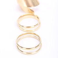 Gold High Polish Casual 5Pc. Rings