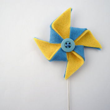 Pin wheel brooch - Yellow and blue pinwheel jewelry - metal stick pin brooch