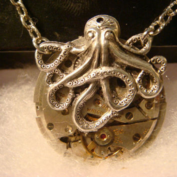 Steampunk Octopus Necklace on Vintage Watch Movement with Exposed Gears - Neo Victorian-Upcycled- (1089)