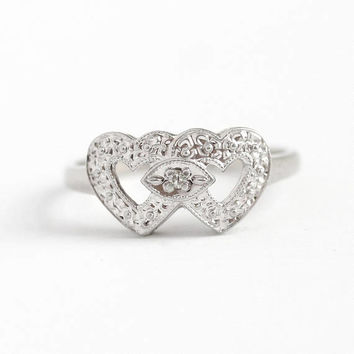 Vintage Sweetheart Ring - 10k White Gold Double Heart Diamond Band - 1940s Size 5 3/4 Anniversary Promise Fine Romantic Love Jewelry