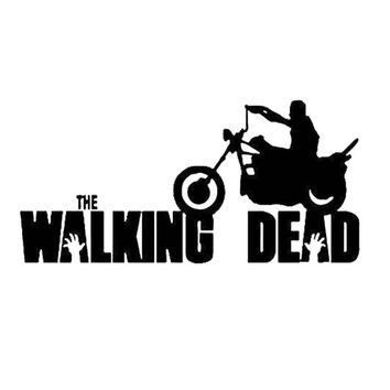 14cm*6.6cm Personality Film Walking Dead Riding Motorcycle Body Stickers C5-1678