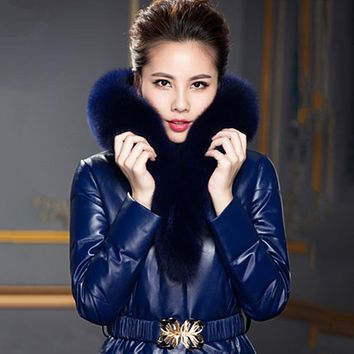 Women's Leather Coat Sheepskin Fox Fur With Hood Female Slim Genuine Leather Medium-long Down Coat