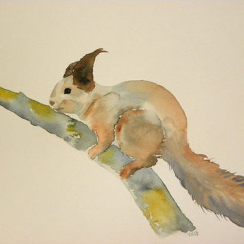 A red squirrel, version 2. Watercolor, original painting. Funny squirrel art. Childrens room home decor. Animal home decor. Finnish art.