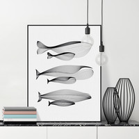 Modern Black White Abstract Animals Whale Family Canvas Large Poster Print Nordic Wall Art Home Decor Painting - *FREE SHIPPING*