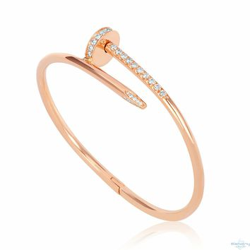 Cartier Nail Bracelet- 0.80 Ct Round Diamonds Color D-F Clarity Vs 18K Rose Gold