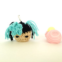 Kokeshi Girl EOS Holder/eos Lip Balm Cozy/eos/Kawaii/EOS Holder/eos cozy/ Turquoise EOS Cozy- with Clip
