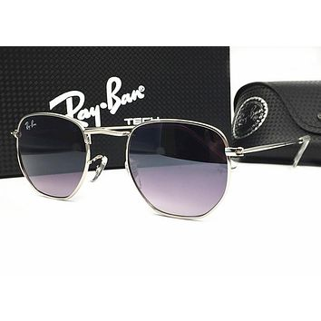 Ray Ban Popular Women Men Stylish Summer Sun Shades Eyeglasses Glasses Sunglasses(9-Color) Black Purple Silvery Frame I-MYJ-YF