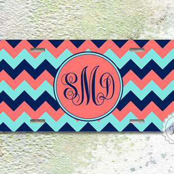 License plate - Coral pink monogram on coral ,tiffany and navy blue chevron , front car tag , flont license tag