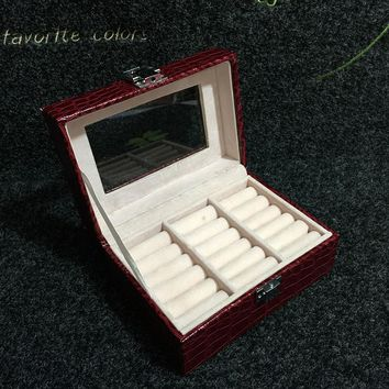 New Type Portable Jewelry Display Box Leather Earrings Storage Cases Ring Display Trays For Woman Stone Pattern Gift Box