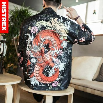 HISTREX Men Japanese Kimono 3D Print Chinese Dragon Coat Shirt Man Summer Funny Harajuku Shirts Style Jackets Hawaii Shirts 5XL
