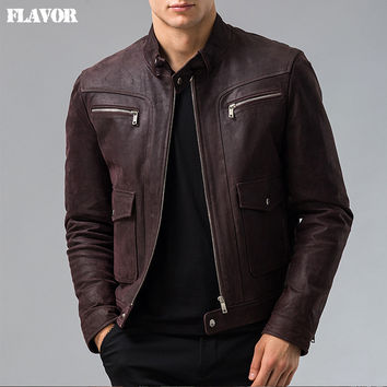 Men's Genuine Leather jacket Pig skin real leather jacket men motorcycle leather coat