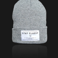 Plug and String Clothing — STAY CLASSY BEANIE | grey