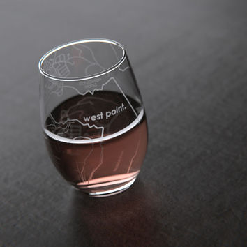 West Point, NY - Army - College Town Maps Stemless Wine