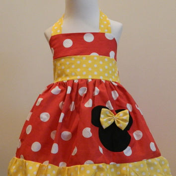 Girls Minnie Mouse Red and White Polka Dot with Yellow Halter Dress