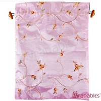 Wrapables Beautiful Embroidered Silk Travel Bag for Lingerie & Shoes - Pink