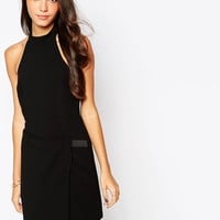 BCBG Generation High Neck Dress with Cut Out Back in Black