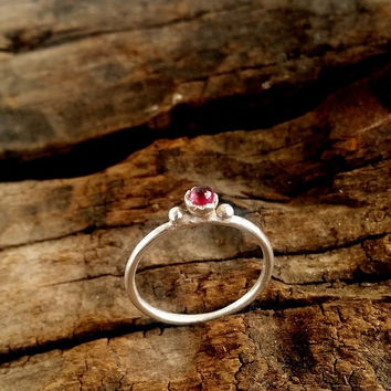 Sterling flower stack ring ,  Garnet Ring , Genuine Gemstone , January Birthstone , Stacking Ring, Red Ring , Simple ring , israeli jewelry