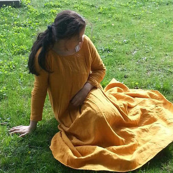 Custom Linen Medieval UnderTunic Dress SCA Renaissance Pagan LARP