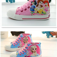 2015 New arrive Elsa and princess graffiti canvas shoes Snow White shoes women girl lace-up sneakers Cartoon canvas shoes 5pcs=1lot D158