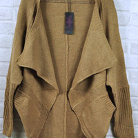 Brown Bat Sleeve Cardigan Dovetail Type Sweater$39.00