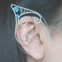 Silver Plated Handmade Wire Wrapped Cyan Blue Faceted Glass Bead Elf Ear Cuffs. Wire Weave, Pixie Ears, LARP, Faery Ear Cuffs