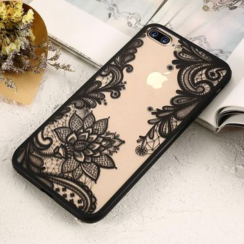 KISSCASE Sexy 3D Lace Flower Patterned Case For iPhone 5s 5 SE X Soft Silicone Edge Cover Cases For iPhone 6 6s 7 8 Plus Capinha