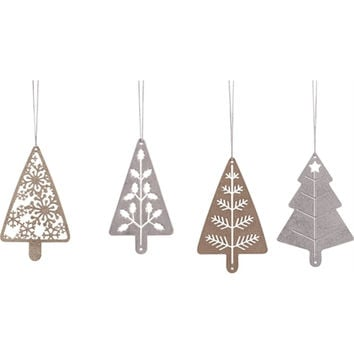 Silver and Gold Metal Cutout Holiday Tree Ornaments - Set of 4