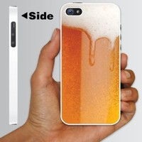 """Alcohol Themed """"Cold Beer with Foamy Head"""" Design - White Protective iPhone 5 Hard Case"""