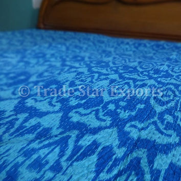 Ikat Kantha Quilt, Handmade Cotton Bed Cover, Twin Size, Blue Color, Reversible Kantha Throw, Ikat Print with Hand Kantha Work