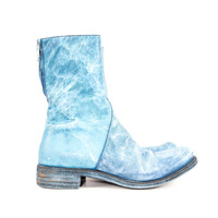 Blue Horse Hide Leather Distressed Boots Size:42