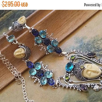 SUMMER SALE 75% Off Iolite Blue Topaz  Necklace  .925 Sterling  Silver Gemstone