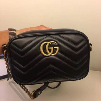 Gucci Fashion Women Shopping Chain Leather Crossbody Satchel Shoulder Bag Black I
