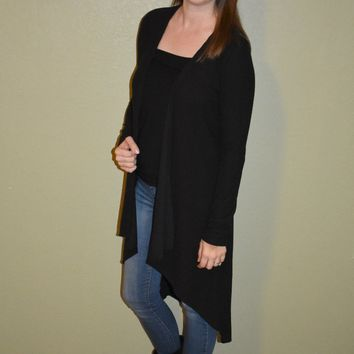 Before You Go Long Cardigan: Black