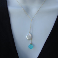 Pearl and Chalcedony Lariat  Necklace  All 14kt Gold by lizix26