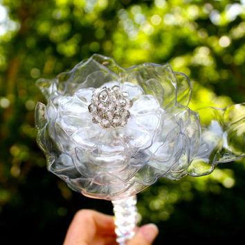 Crystal Wedding Brooch Bouquet jeweled wedding wand, bridal, heart, translucent, bling, white flower