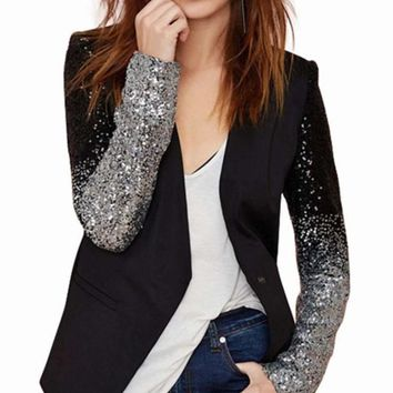 Womens  Street Style Blazer Sequins Sleeve