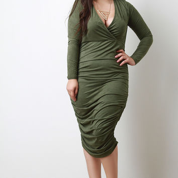 Faux Suede Surplice Ruched Dress