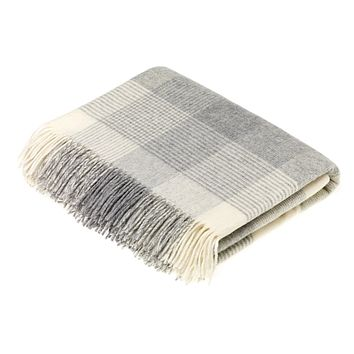 Merino Lambswool Throw - Blanket Check - Gray, Made in England