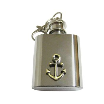 Brass Toned Nautical Anchor 1 Oz. Stainless Steel Key Chain Flask