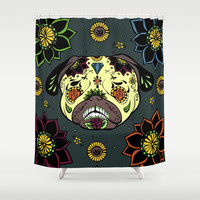Calavera Paxicana Shower Curtain by Huebucket