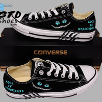 Hand Painted Converse Lo. Alice in wonderland, Cheshire cat. Handpainted shoes.