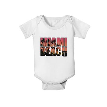 Miami Beach - Sunset Palm Trees Baby Romper Bodysuit by TooLoud