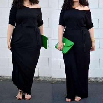 Black Off Shoulder Half Sleeve Maxi Dress