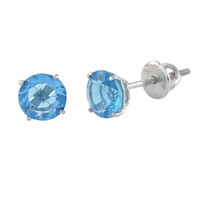 Sterling Silver Blue Topaz CZ Cubic Zirconia Screwback Earrings