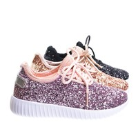 Remy18k Pink Lace up Rock Glitter Fashion Sneaker For Children / Girl / Kids